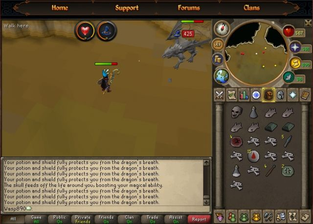 Polypore Staff hits 425 vs Iron Dragon (87 magic)