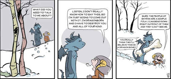 Calvin and Hobbes+Skyrim